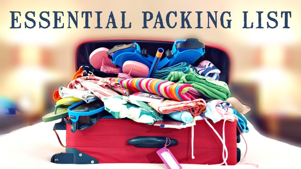Overstuffed suitcase to demonstrate need for essential packing listr