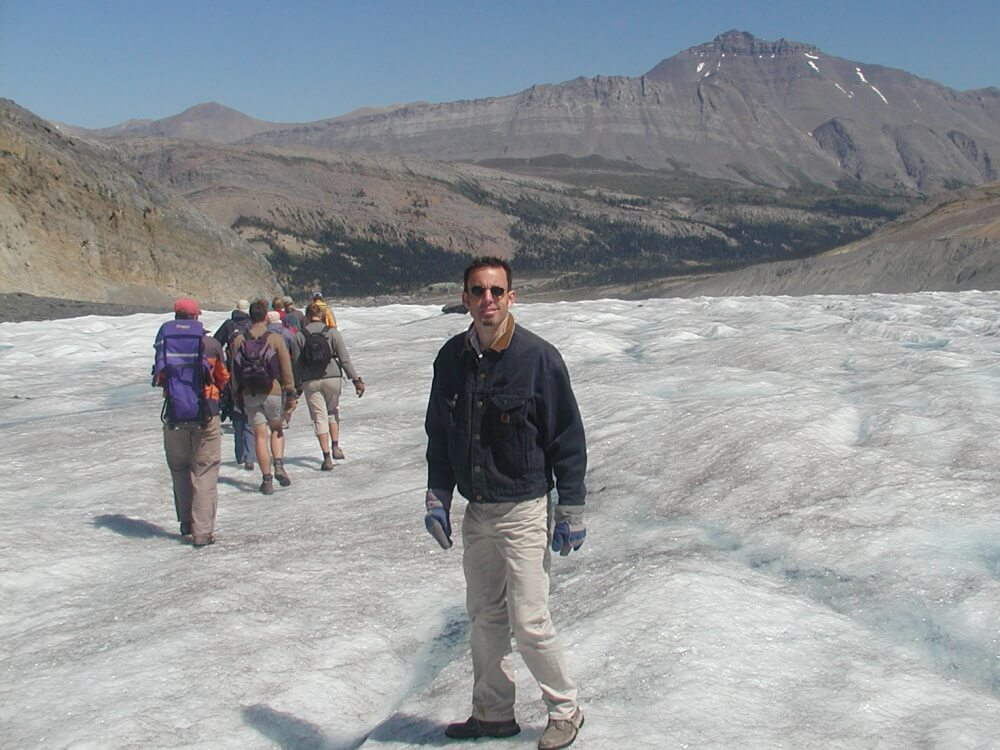 hiking on a Glacier in the Canadian Rockies