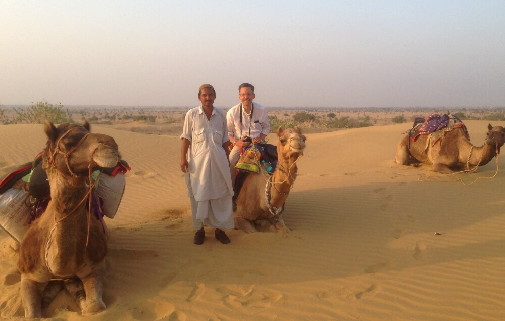 kevin and guide on camel safari jaisalmer