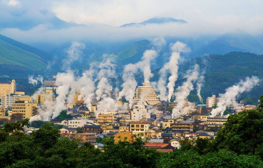 Steam rising over Beppu town in Japan from the hot springs