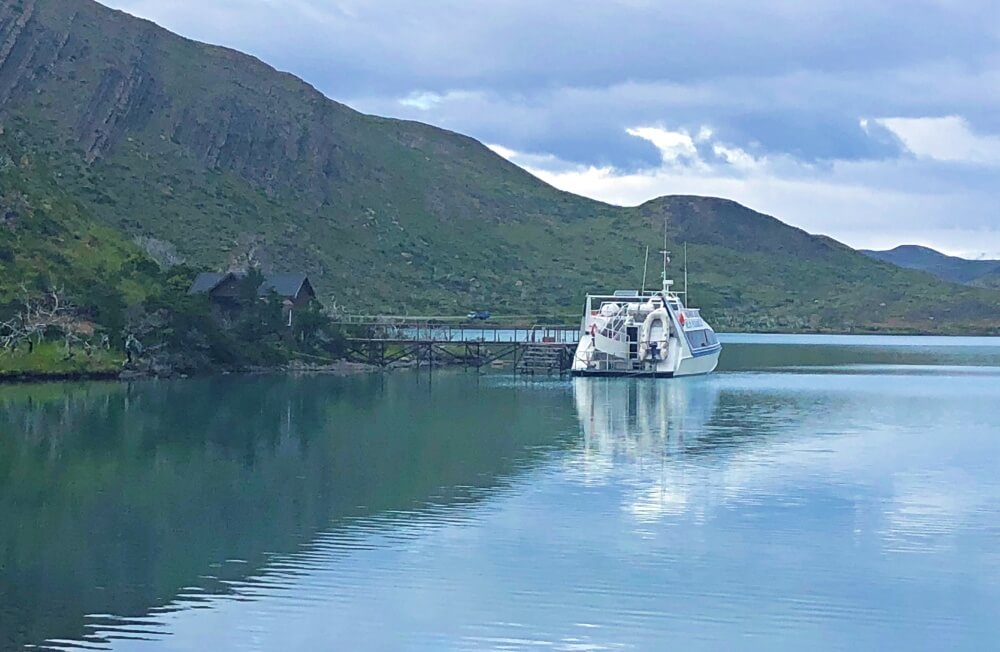 Catamaran to go across Lake Pehoe to start of French Valley Hike