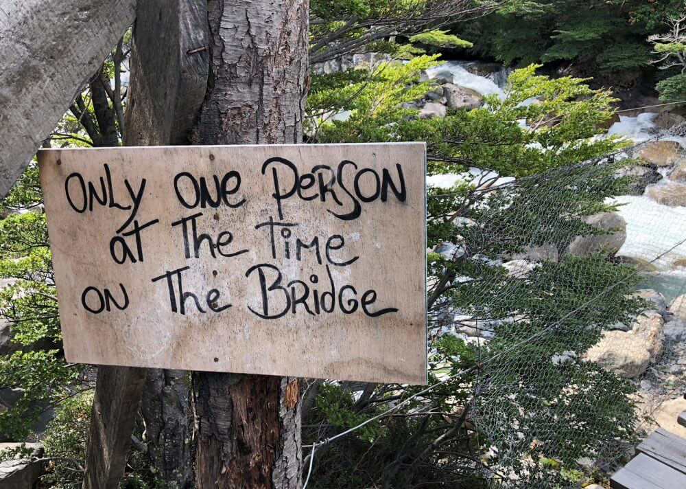 Sign for bridge on French Valley Hike