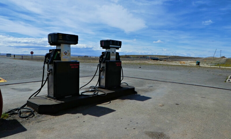 Tapi Aike gas station pumps near Torres del Paine Patagonia