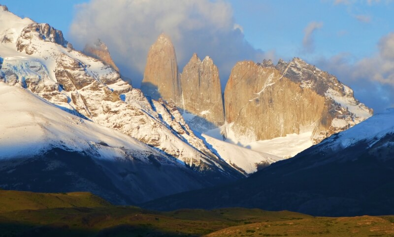 Torres del Paine taken from road while driving in Patagonia