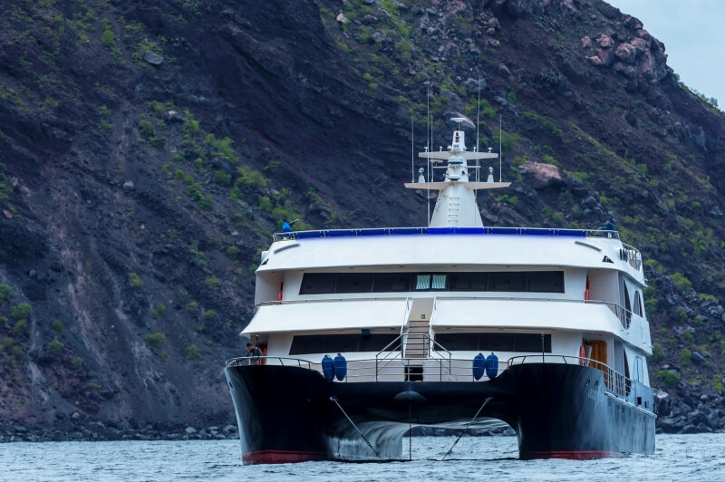 Catamarans are usually more stable when cruising around Galapagos Islands