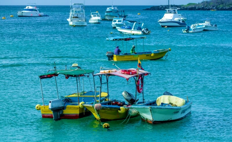 Small boats for day trips Galapagos Islands