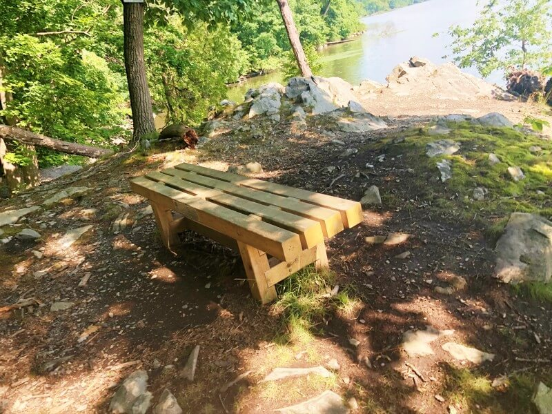 Black Creek Preserve Trail bench at Pitch Point Overlook