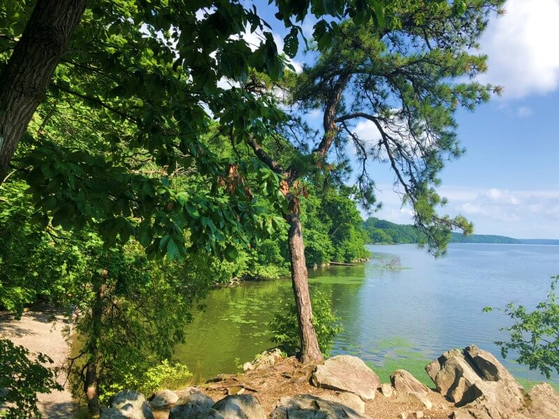 Black Creek Preserve Trail view of Hudson River and beach from Pitch Pine Overlook
