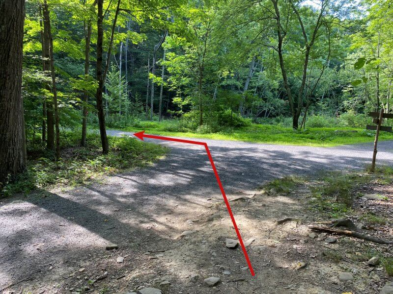 5 way intersection on Bonticou Crag Trail Take second left