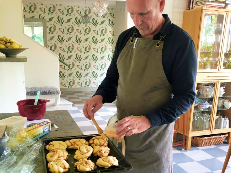 Making cinnamon buns lesson in Vaxholm Sweden