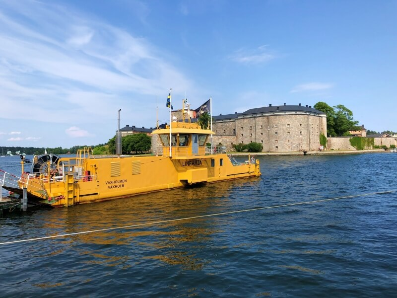 Cable ferry to Vaxholm Kastell Vaxholm Fortress
