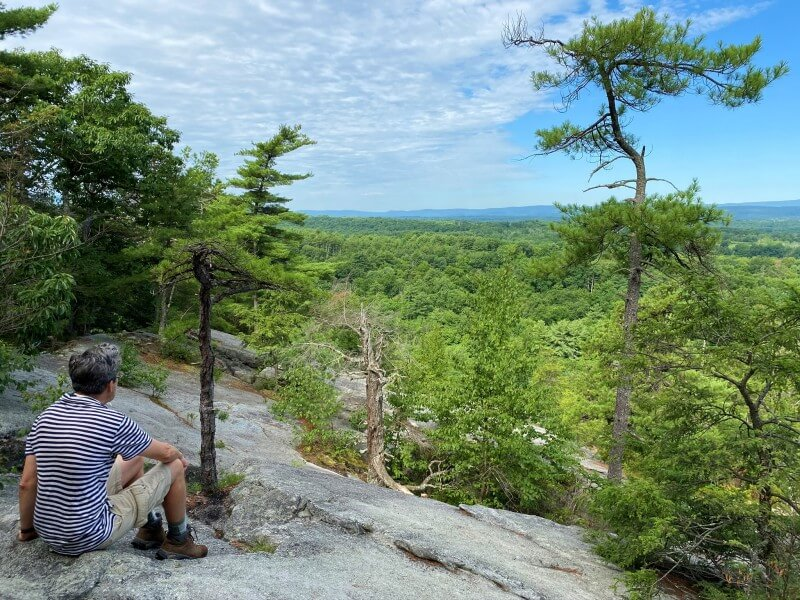 Kevin enjoying view from Table Rocks on the Table Rocks Hike Mohonk Preserve New York
