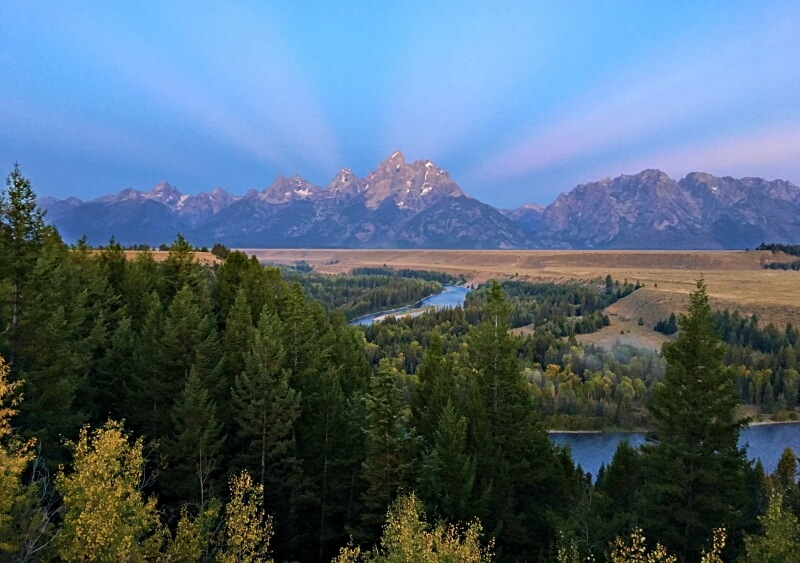Grand Tetons from Snake River Overlook sunrise on scenic loop drive