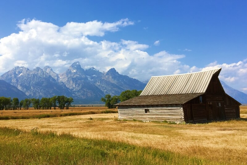 Grand Tetons with Moulton barn seen on Grand Tetons scenic loop drive