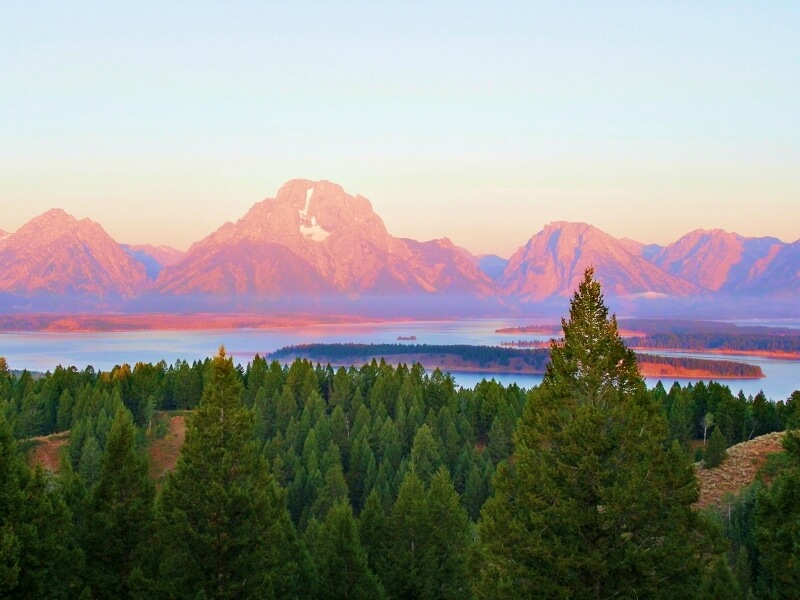 View from Jackson Lake Overlook on Signal Mountain morning over Jackson lake Grand Teton National Park